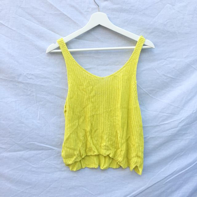 Yellow Knit Singlet Top