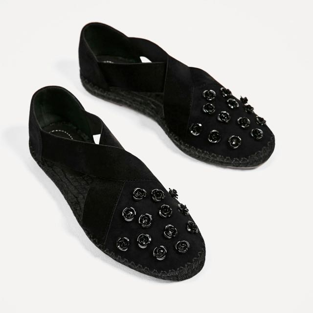 Zara Floral Leather Espadrilles