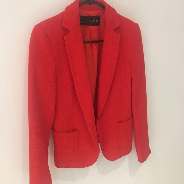 Zara Red Linen Blazer Size Xs