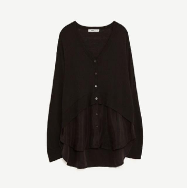 Zara V領假兩件設計師款開襟衫