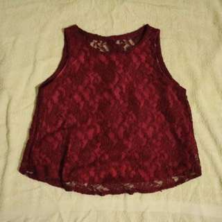 Maroon Lace Top