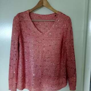 Pink Long Sleeve V Neck