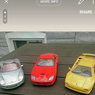 3 Model Cars 1/18 Scale (Lamborghini, Ferrari, Porche)