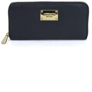 Micheal Kors Zip Around Continental Black Leather Wallet