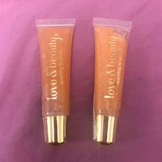 Love & Beauty Sparkling Lip Gloss in Seashell Pink
