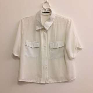 White chiffon button down collar top