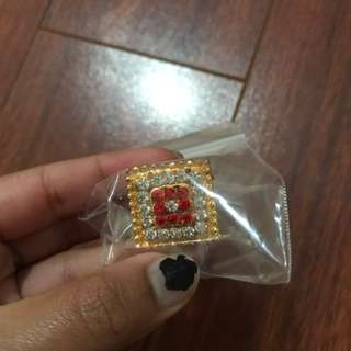 Red And White Bedie Ring