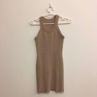 Nude knit bodycon halter dress