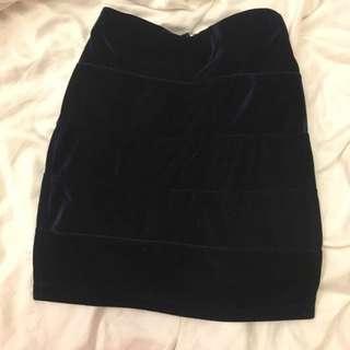 Blue Velvet Bandage bodycon skirt