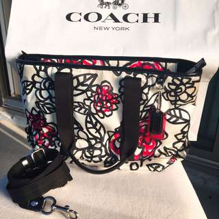 Authentic Coach Purse With Floral Design