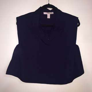 NAVY COLLAR TOP