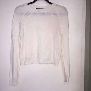F21 WHITE KNIT SWEATER