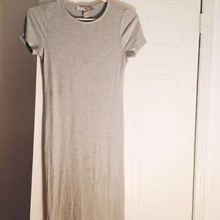 Forever 21 Grey Ribbed Bodycon Dress