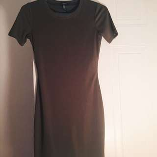 Forever 21 Olive Green Ribbed Bodycon Dress
