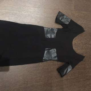 Zara Black Dress With Leather Details - Size S