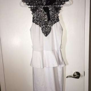 BRAND NEW- Tags Attached- Size Medium - Beautiful Ladies White Dress With Unique And Stunning Neckline -Black Lace Design Halter Tie