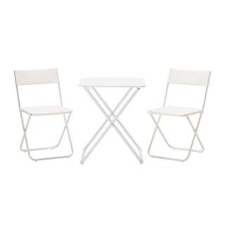 Outdoor Table  2 Chairs White