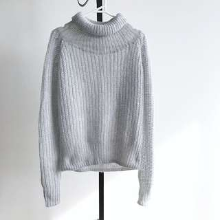 Pastel Grey Oversized Turtle Neck Loose Fit Sweater