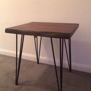 Wood Table With Diamond Leg Details