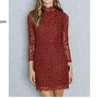 Maroon Lace Bodycon Dress Sleeved