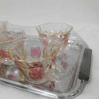 Cute Pink Tea Cups With Tray
