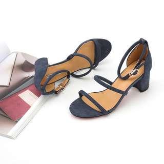 涼鞋女中跟一字扣性感百搭女細帶羅馬女鞋子露趾顯瘦 cw3