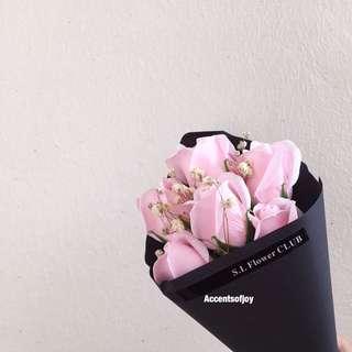 Pink Soap Flower Bouquet  Baby Breathe