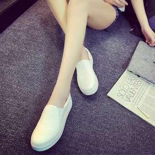 白色帆布鞋女厚底鞋一腳蹬懶人鞋學生布鞋休閑板 cw5