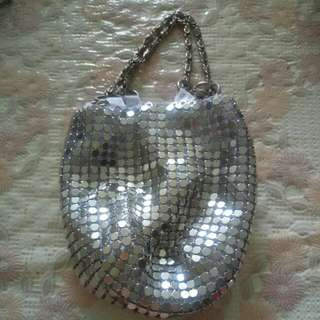 Small Gala Dinner Silver Pouch Bag