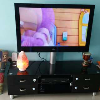 TV Console Solid Wood And Tempered Glass