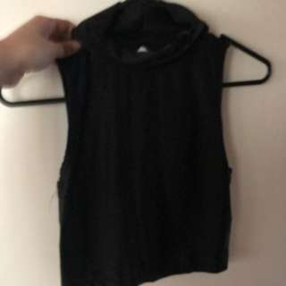 Black Turtle Neck S/Less Crop