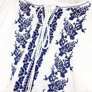 民族刺繡 流蘇綁帶 荷葉領 公主袖日韓版上衣