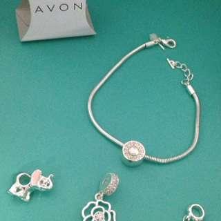 Avon Charm Bracelet & Charms