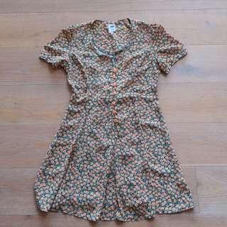 90s Dress Vintage Button Up Skater Dress
