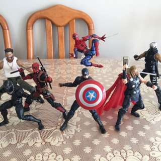 Spiderman , Captain America , Wolverine Deadpool Thor Black Panther Ninja
