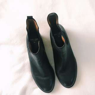 Mango Touch Black Leather Boots.