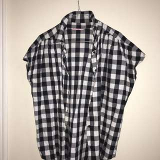 White And Black Checks Top