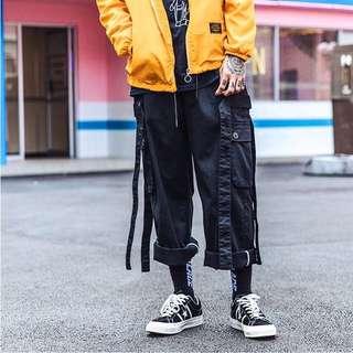 多口袋織帶工作褲(可拆)