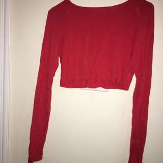 Red Long Sleeve Crop Top