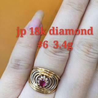 18k Japan Gold Diamond Ring With Ruby Stone