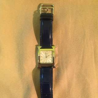 Hermes H our Watch With Embossed Leather Strap