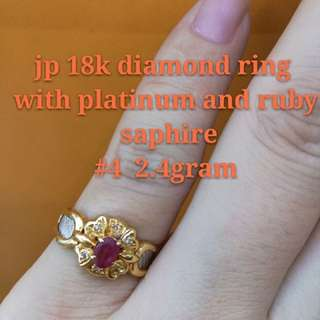 18k Japan Gold Diamond Ring With Platinum And Ruby