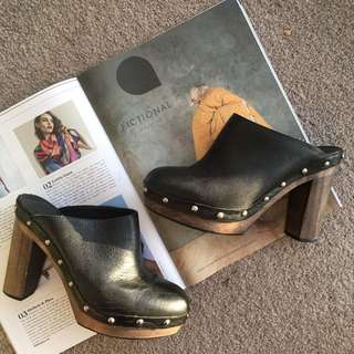 Sportsgirl Heeled Mules In Black AU 8 With Studs And Raw Cut Details