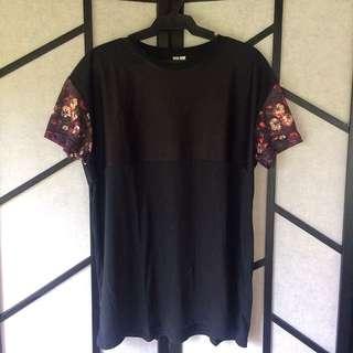 Penshoppe Mesh Floral Sleeves Black Shirt