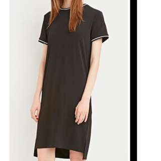 Forever 21 New w Tags Size M Black White Rib Striped-Trim Dress