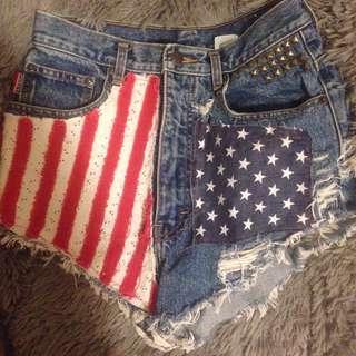 American Flag Denim Shorts