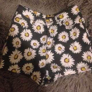 Sunflower print shorts