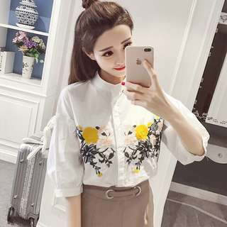 Embroidered Button Top