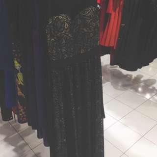 Black Lace With Light Yellow Base Dinner Dress