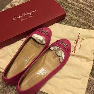Authentic Ferragamo Hot Pink Flat Shoes